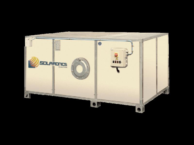 Ruimteverwarming d.m.v. warme lucht generatoren SOLARONICS